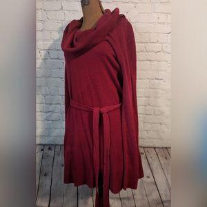 Red Ashley Stewart belted sweater dress
